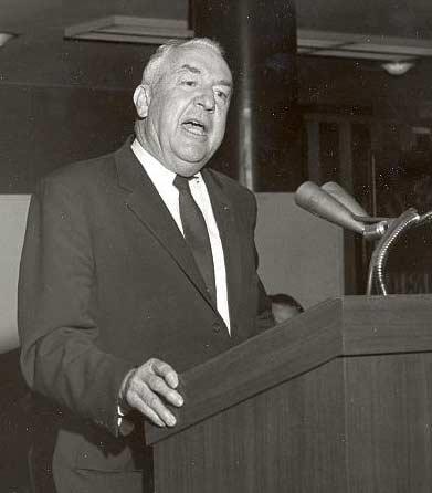 Sam Ervin delivers an address at a lecturn