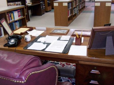 Senator Ervin's desk in his office in Washington would have appeared as this, with papers neatly organized in front of him.