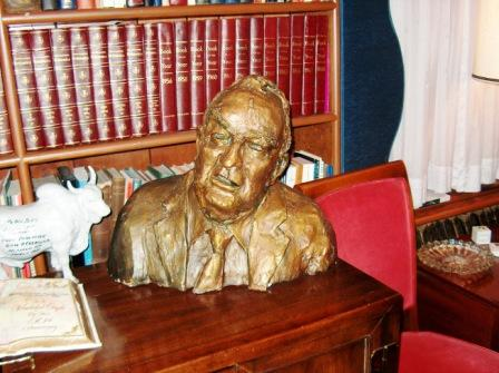 Pictured here, a bust of the Senator is found in his home office