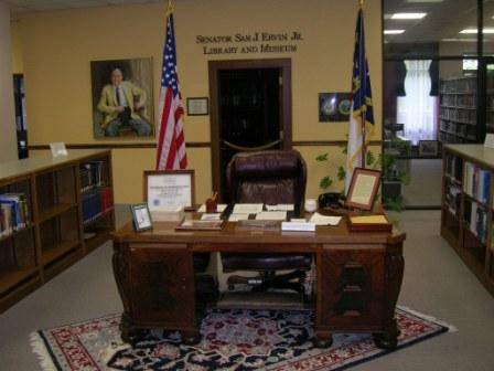 Photo of Sam Ervin's Desk at the front of the Library