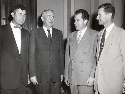 Left to Right: Woodrow Jones, Senator Ervin, Vice-President Richard Nixon and Hugh Alexander pose for a photo on June 11, 1954, the day Ervin was sworn in as a U.S. Senator.